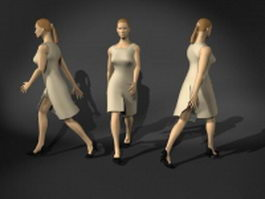 Business lady in walking pose 3d model