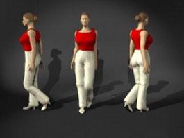 Office woman walking pose 3d model