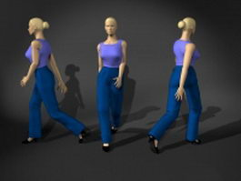 Fashion woman walking pose 3d model