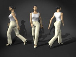 Woman walking pose 3d model