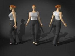 Woman in walking pose 3d model