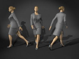 Business woman in uniforms suit 3d model