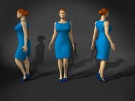 Woman in blue dress 3d model