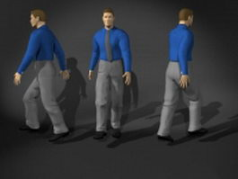 Business man walking pose 3d model
