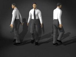 Man in walking pose 3d model