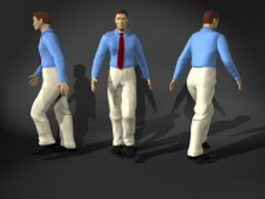 Walking man in shirt and tie 3d model