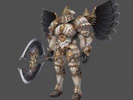 Full armor paladin with battleaxe 3d model