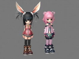 Anime rabbit girl 3d model