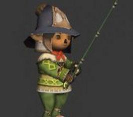Cartoon boy fishing 3d model