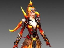 Fire mage girl 3d model