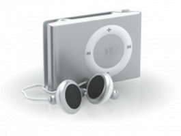 iPod Shuffle and earbud 3d model