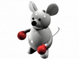 Cartoon boxer mouse 3d model