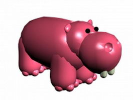 Cartoon hippo 3d model