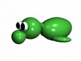 Cute green bird 3d model