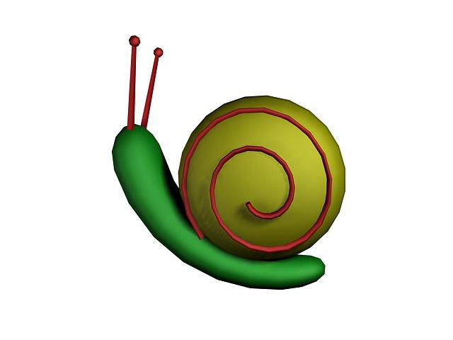 Cute snail cartoon 3d rendering