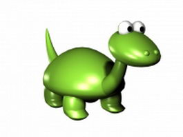 Cute green dinosaur 3d model