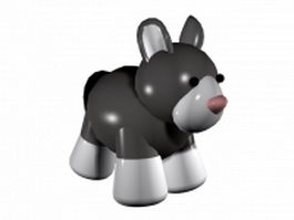 Cute donkey cartoon 3d model