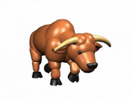 Angry cartoon bull 3d model