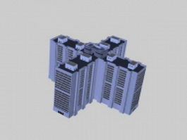 High-rise architecture 3d model