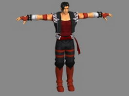 Anime fighter man 3d model