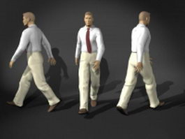 Businessman walking pose 3d model