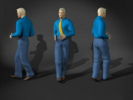 Businessman man dance pose 3d model