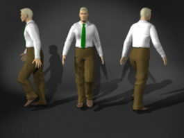 Young man in walking pose 3d model