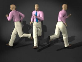 Running pose business man 3d model