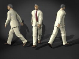 Walking man in suit 3d model