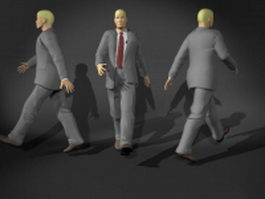 Businessman in walking pose 3d model