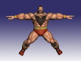 Zangief Street Fighter character 3d model