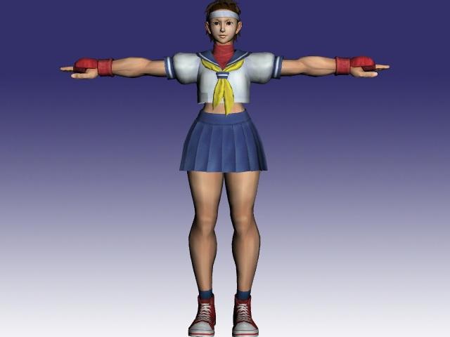 Sakura Kasugano In Street Fighter 3d Model ObjectMilkShape 3D Files Free Download Modeling