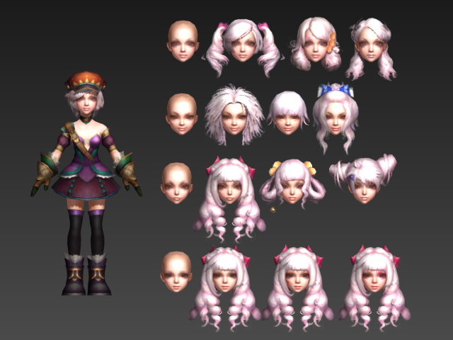 Anime Characters 3d Models : Cute chibi girl anime d model ds max files free download