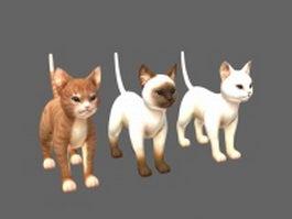 Three cats 3d model