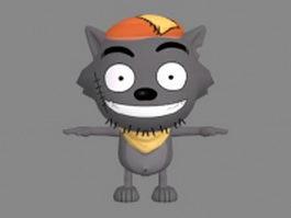 Cute wolf anime 3d model