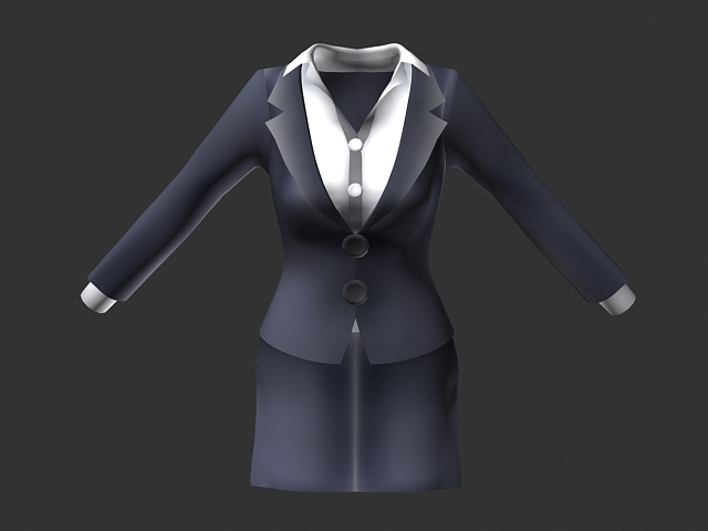 female uniform suit dress 3d model 3ds max collada files