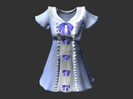 Cute light blue dress 3d model