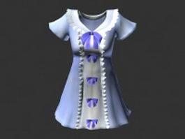 Cute light blue dress 3d model