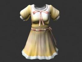 Cute retro dress 3d model