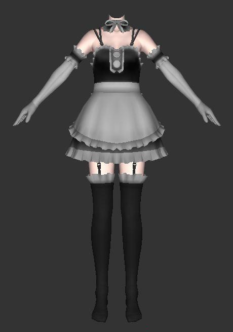 Anime Maid Dress Outfits 3d Model 3ds Max Collada Files