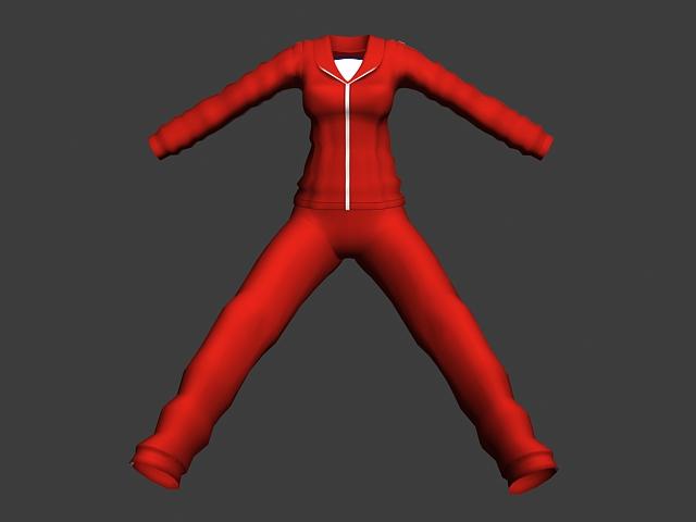 Red sportswear suit for women 3d model - CadNav
