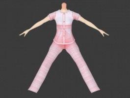 Cute pajamas for girl 3d model