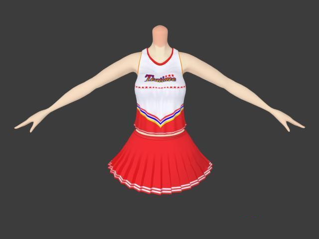 Cheerleading uniform outfit 3d rendering
