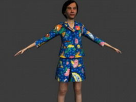Middleaged woman in T-pose 3d model