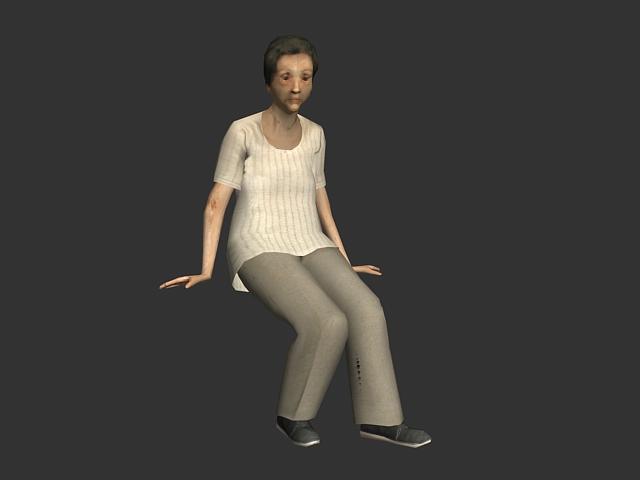 elderly woman 3d model 3ds max lightwave object files free