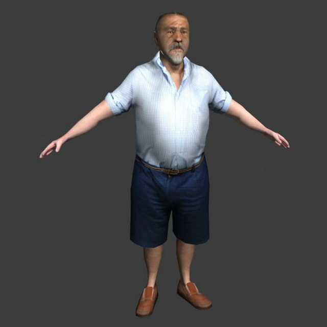 Old Man In T Pose 3d Model 3ds Max Lightwave Object Files