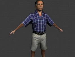 Asian old man in T pose 3d model