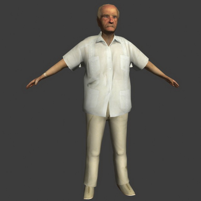 Old man posture 3d model 3ds max,Lightwave,Object files ...