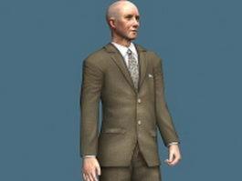 Old businessman standing 3d model