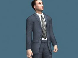 Young businessman in standing pose 3d model